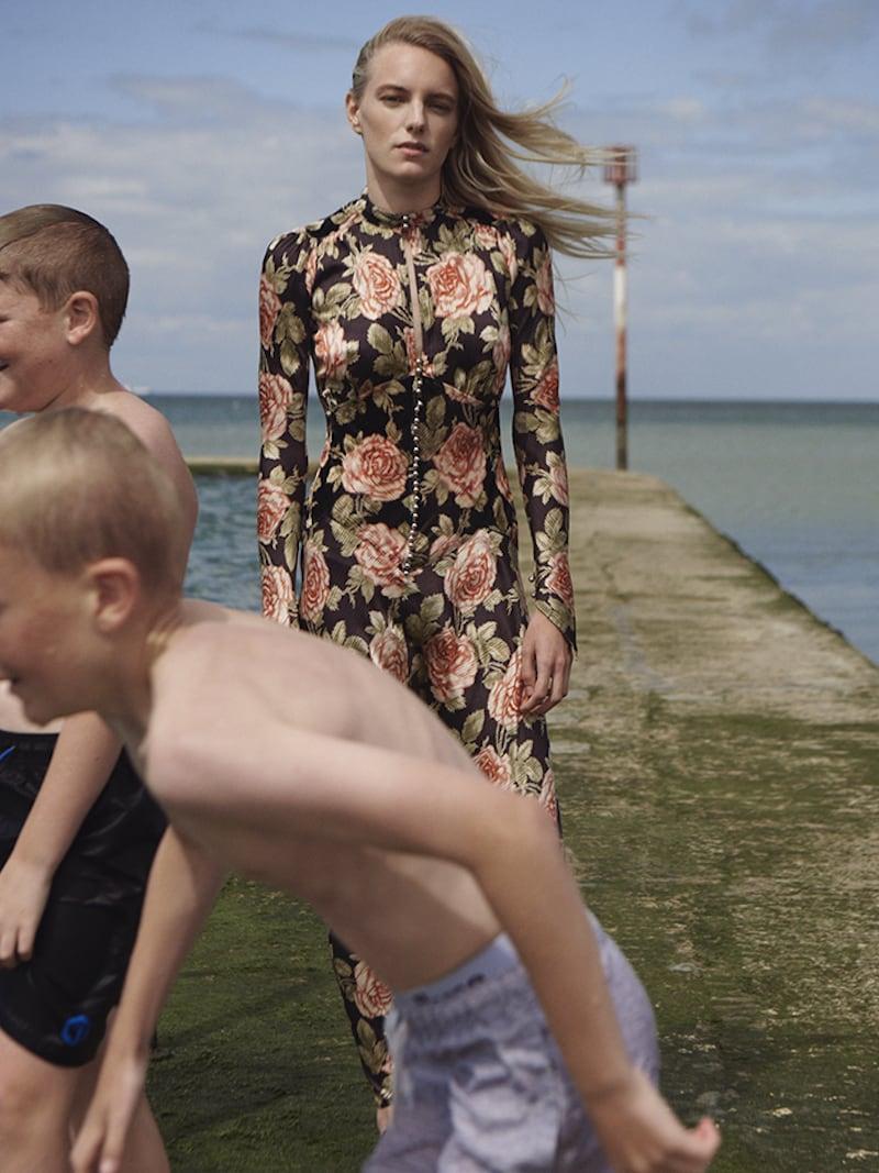 Paco Rabanne Floral-Print Velvet and Satin Maxi Dress 1