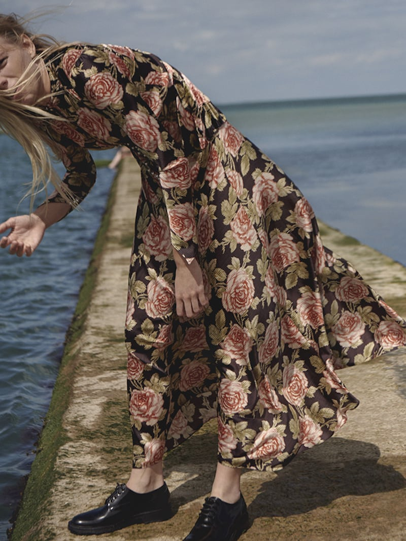 Paco Rabanne Floral-Print Velvet and Satin Maxi Dress 3