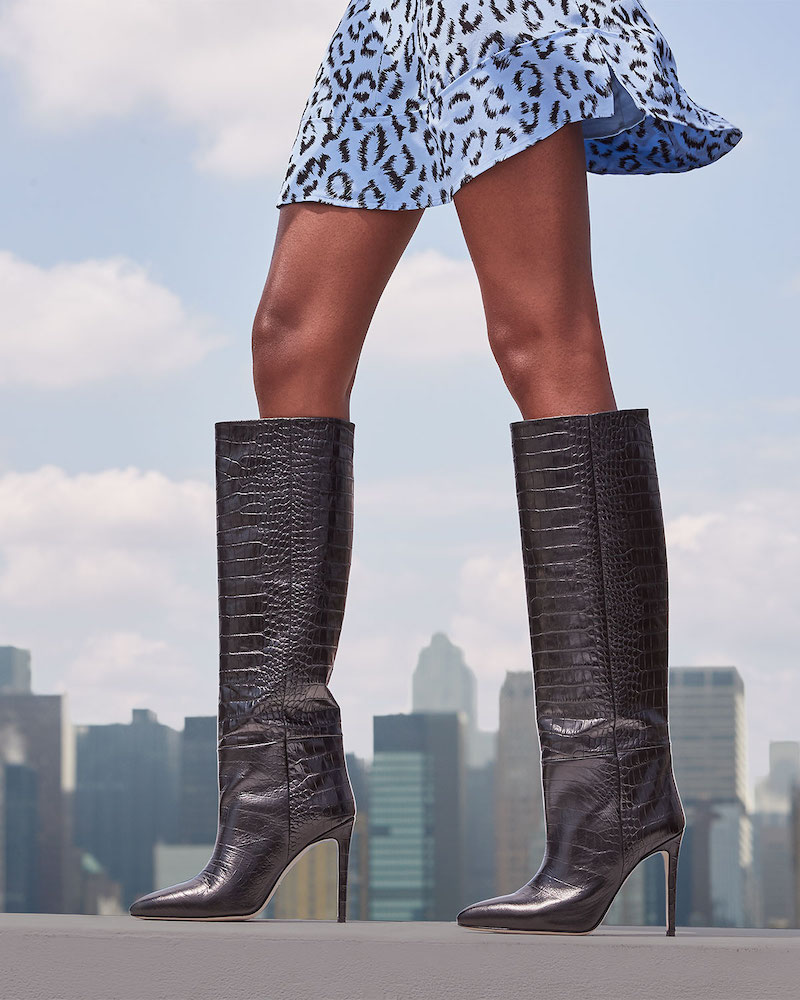 Paris Texas Croc-Embossed Leather Stiletto Boots