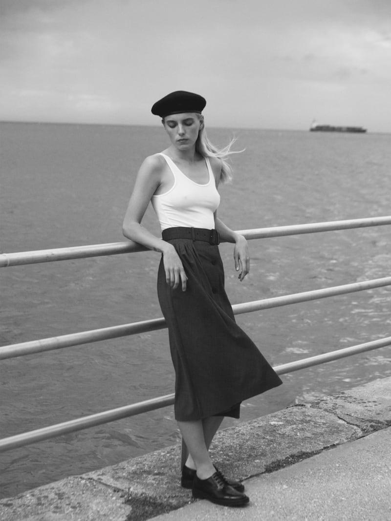 Prada Pleated Prince of Wales Checked Wool-Blend Midi Skirt