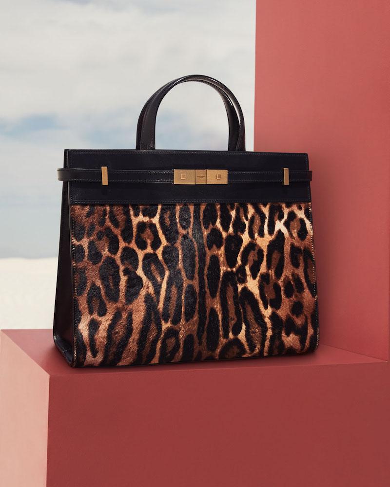 Saint Laurent Manhattan Small Leopard Calf Hair Tote Bag
