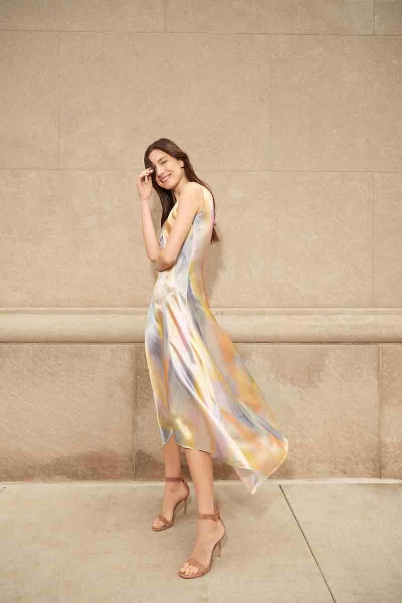 Sies Marjan Tie-Dye Satin Asymetric Midi Dress