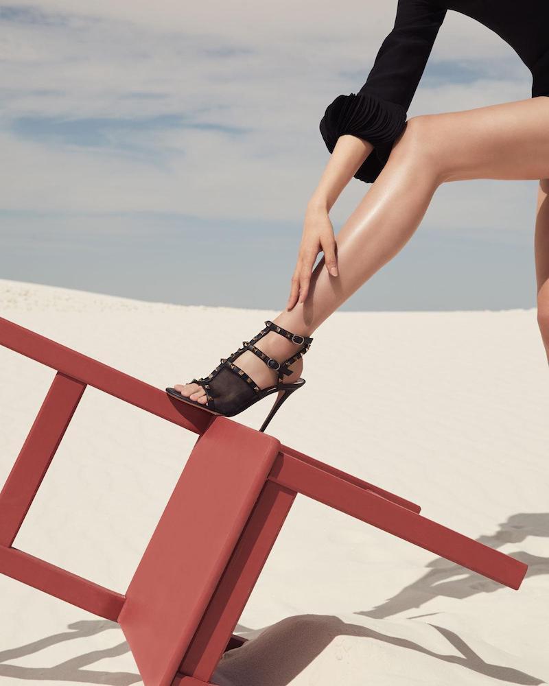 Valentino Garavani Rockstud Mesh Leather T-Strap Sandals