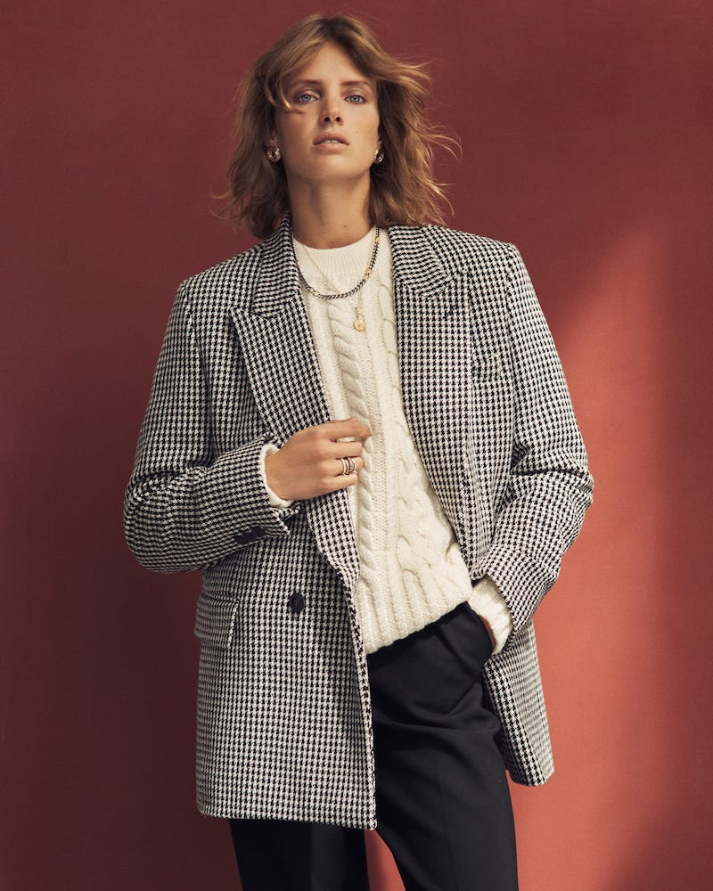 AMI Houndstooth Double-Breasted Wool Blazer