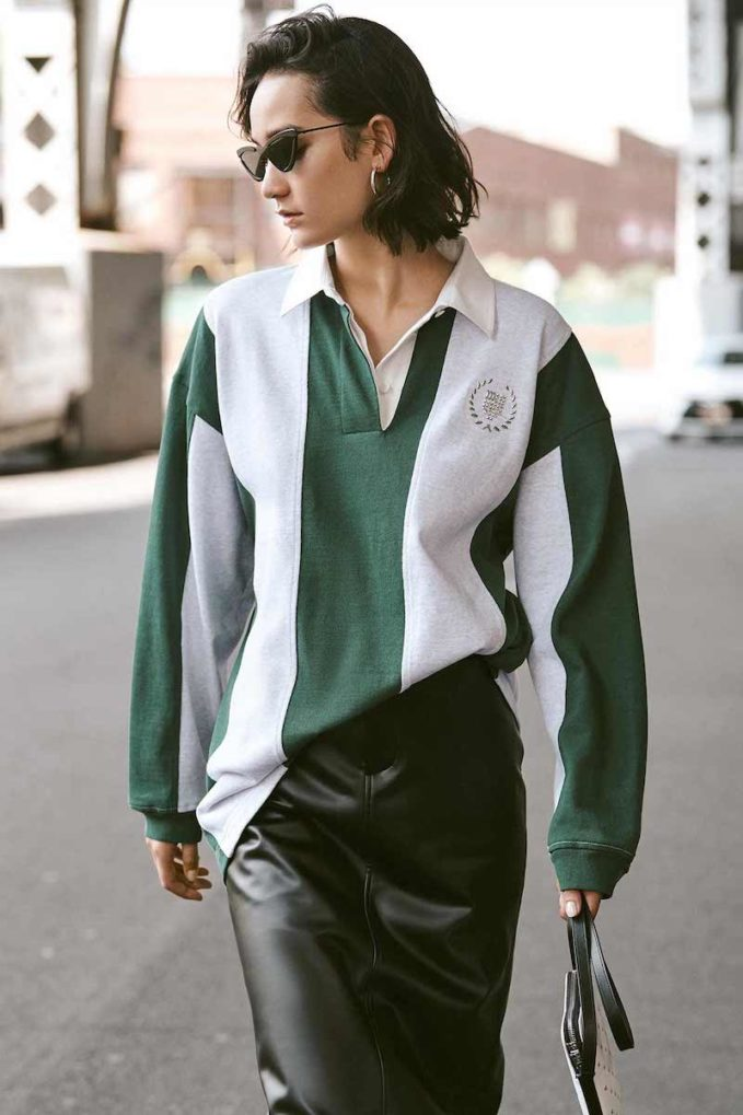 Alexander Wang Long Sleeve Rugby Collared Shirt