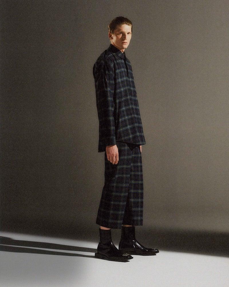 Balenciaga Cropped Tartan Cotton Tapered Trousers