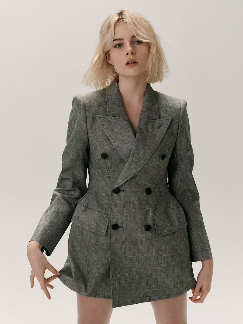Balenciaga Hourglass Double-Breasted Checked Wool Blazer