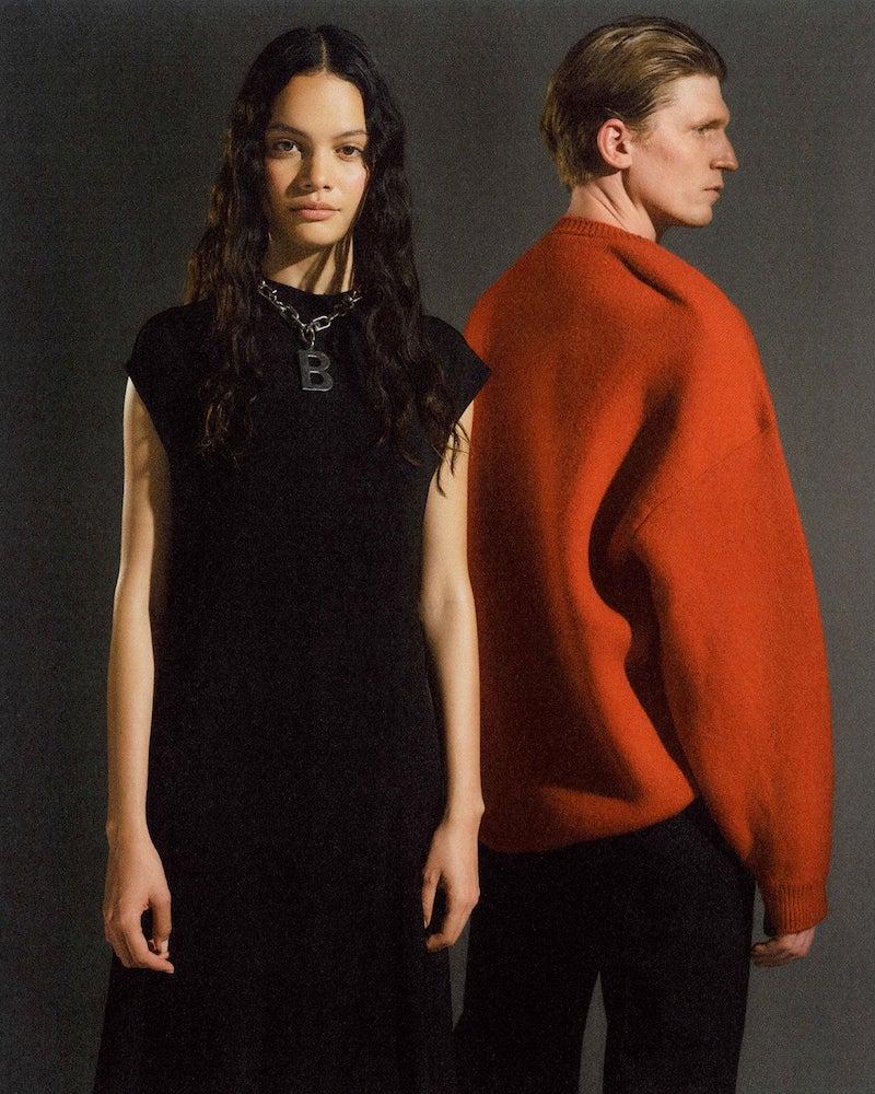 Balenciaga Pinched-Shoulder Crest-Logo Wool Sweater