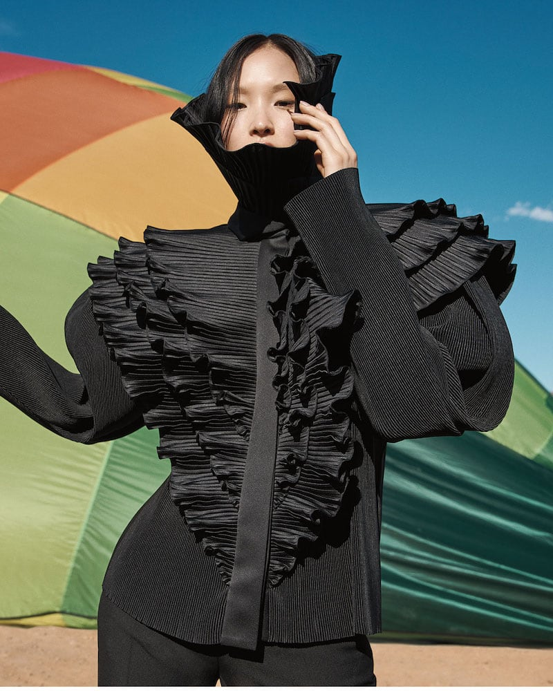 Balenciaga Satin Pleated Ruffle-Bib Blouse With Incognito Collar
