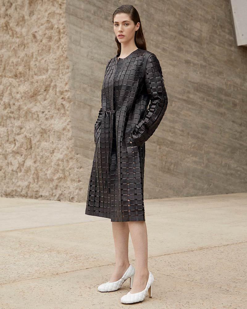 Bottega Veneta Single-Breasted Woven-Leather Coat