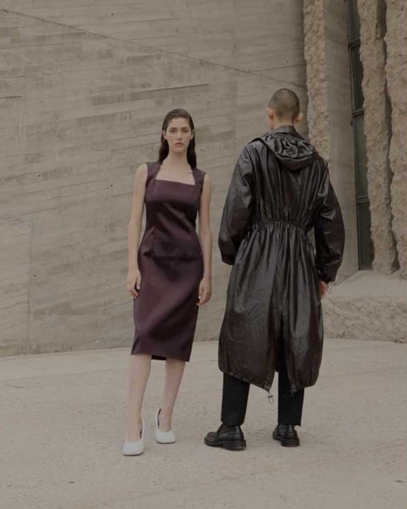 Bottega Veneta Square-Neck Satin Midi Dress