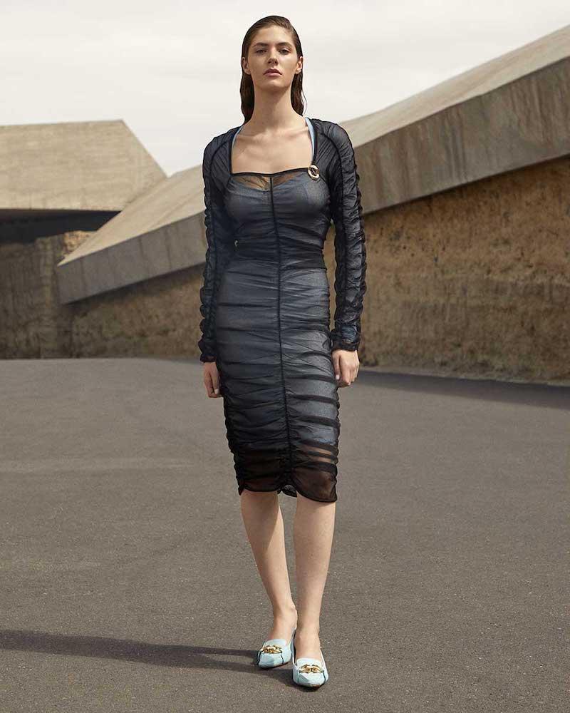 Bottega Veneta Square-Neckline Ruched Tulle Midi Dress