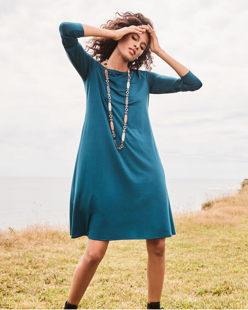 Eileen Fisher Jersey Bateau-Neck Long-Sleeve Dress