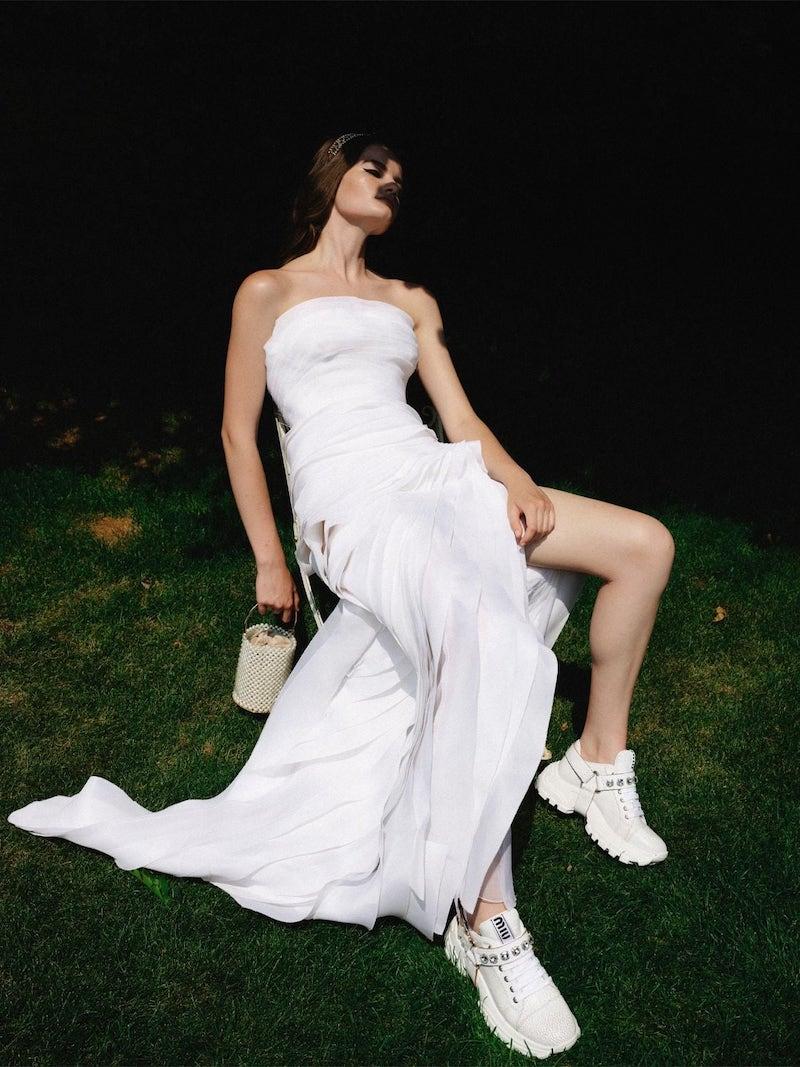 Ermanno Scervino Long Ruffled Chiffon Dress