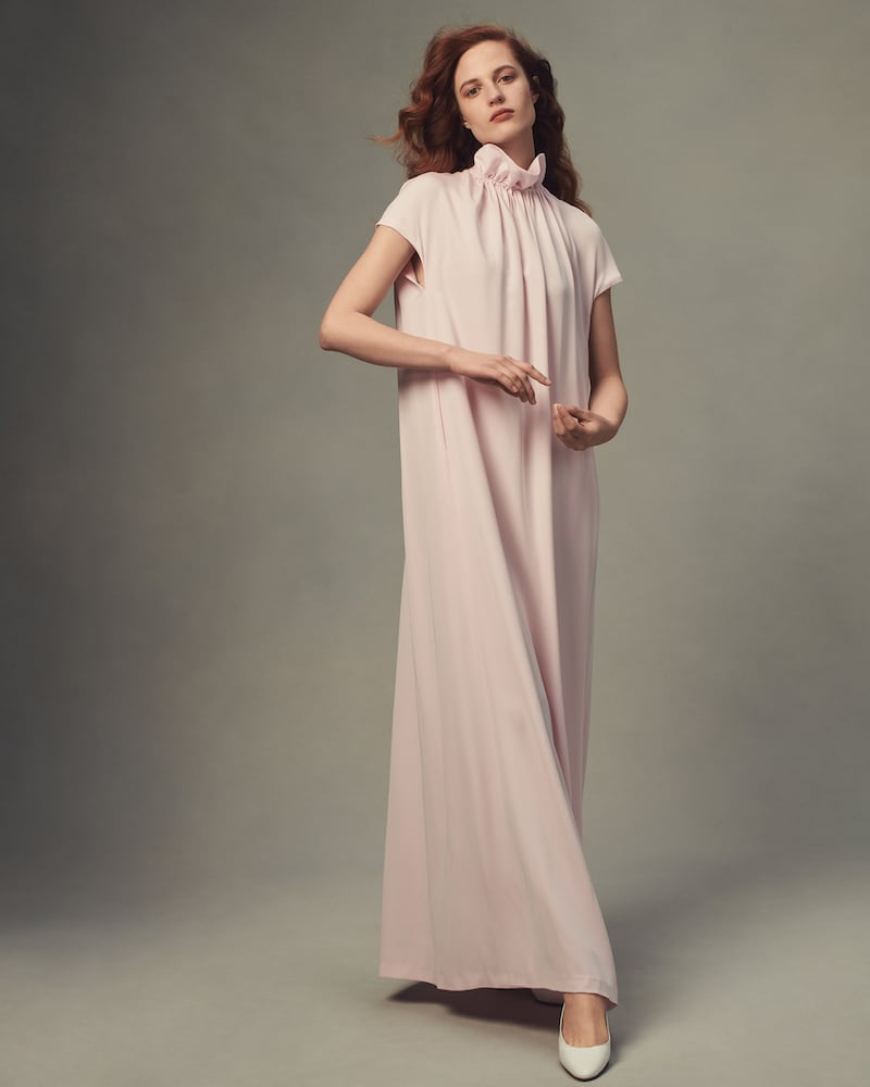 Lisa Perry Silk Crepe Flyaway Gown