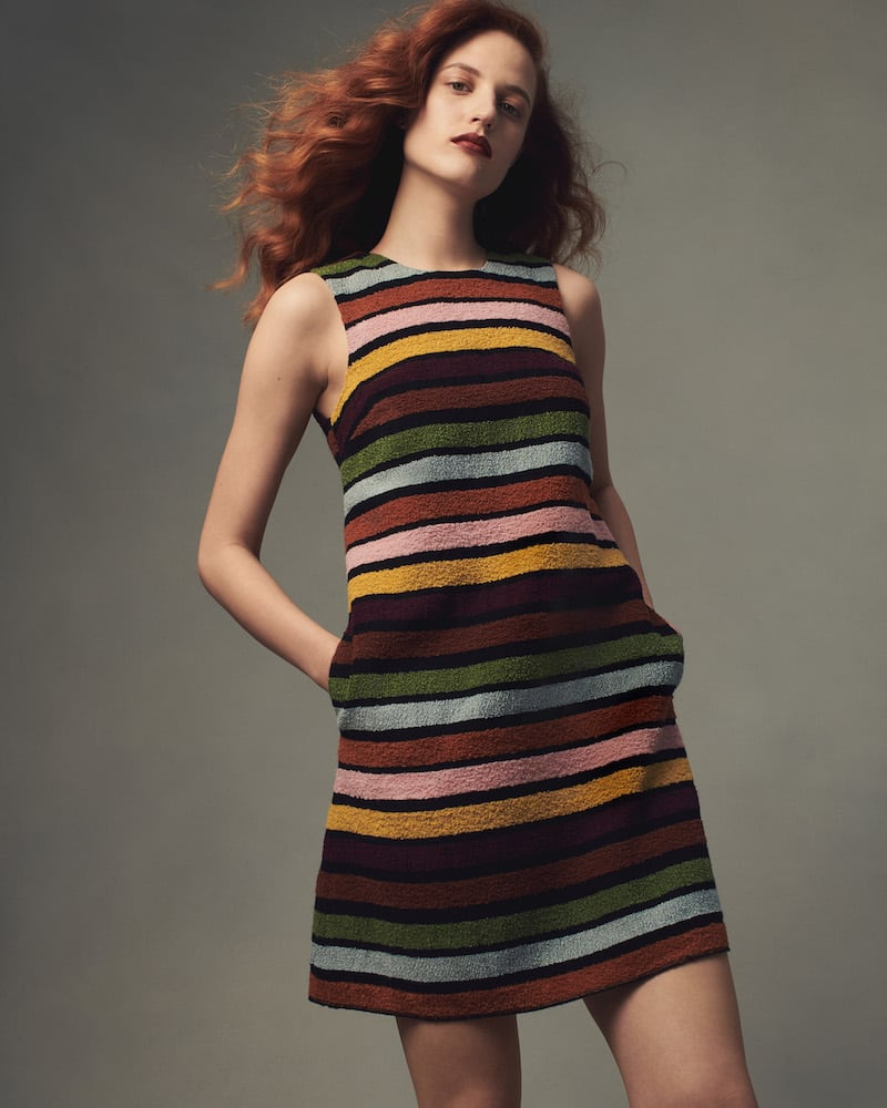 Lisa Perry Striped Bouclé A-Line Shift Dress