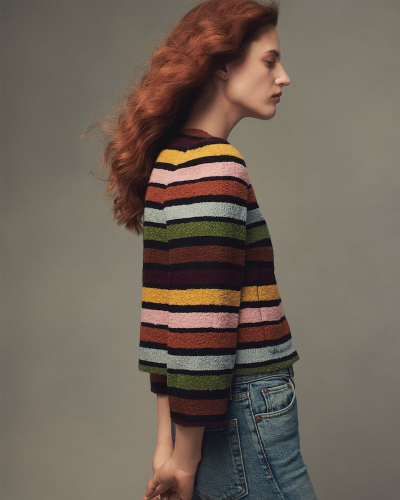 Lisa Perry Striped Bouclé Crop Jacket
