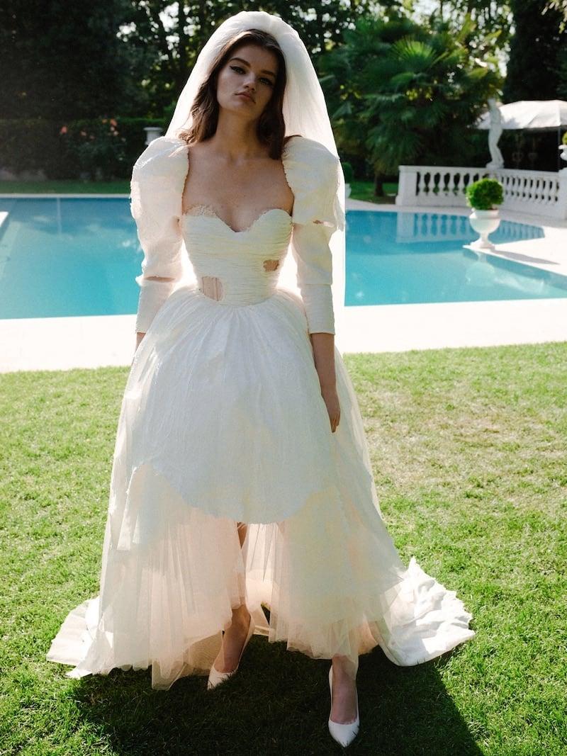 Moschino Floral Viscose Jacquard Bridal Dress