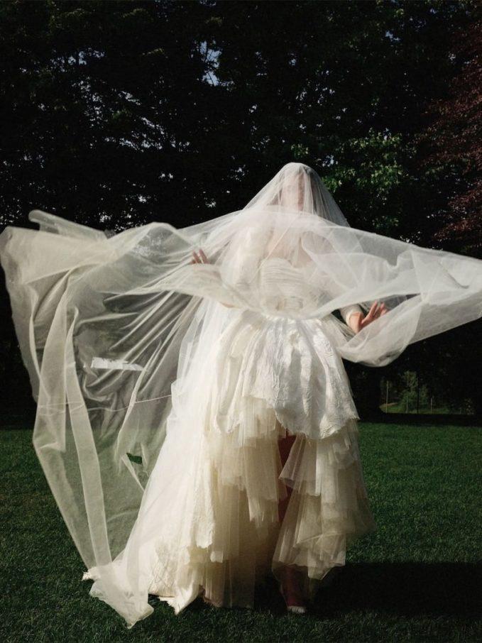 Moschino Floral Viscose Jacquard Bridal Dress 2