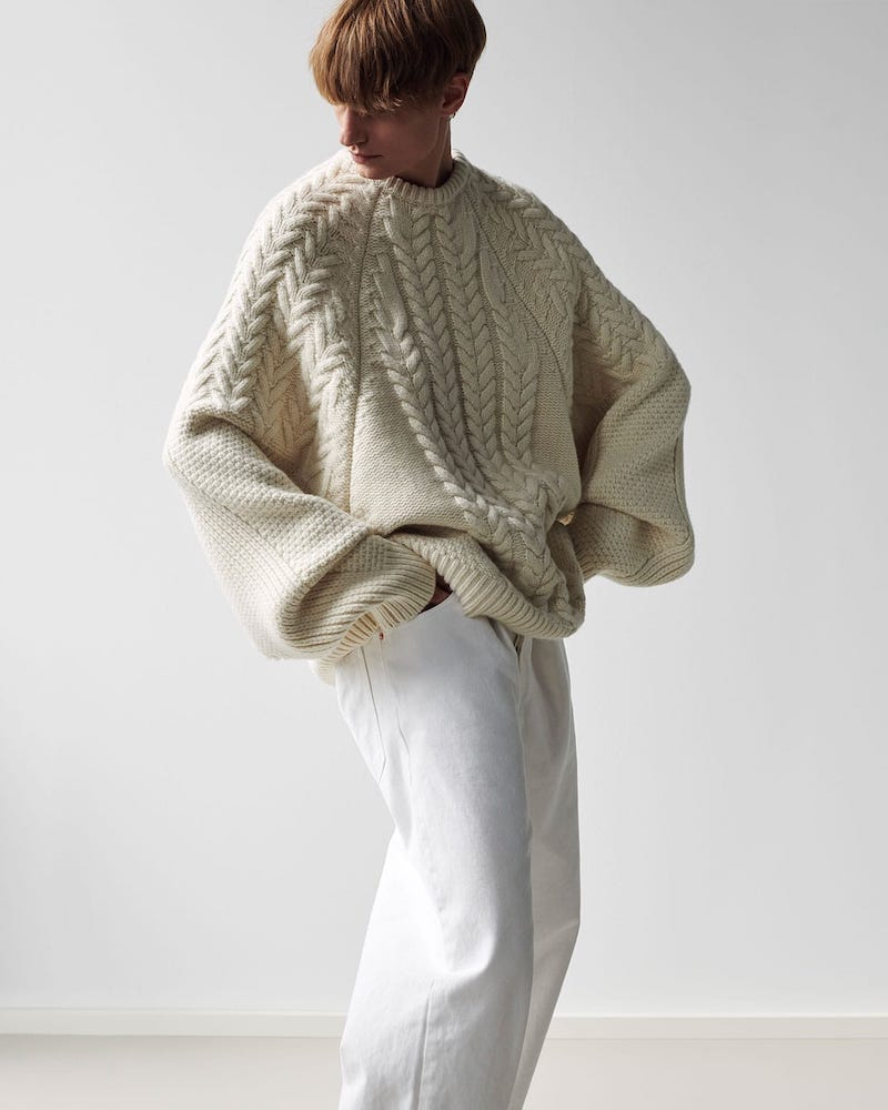 Raey Oversized Contrast-Panel Wool-Blend Sweater