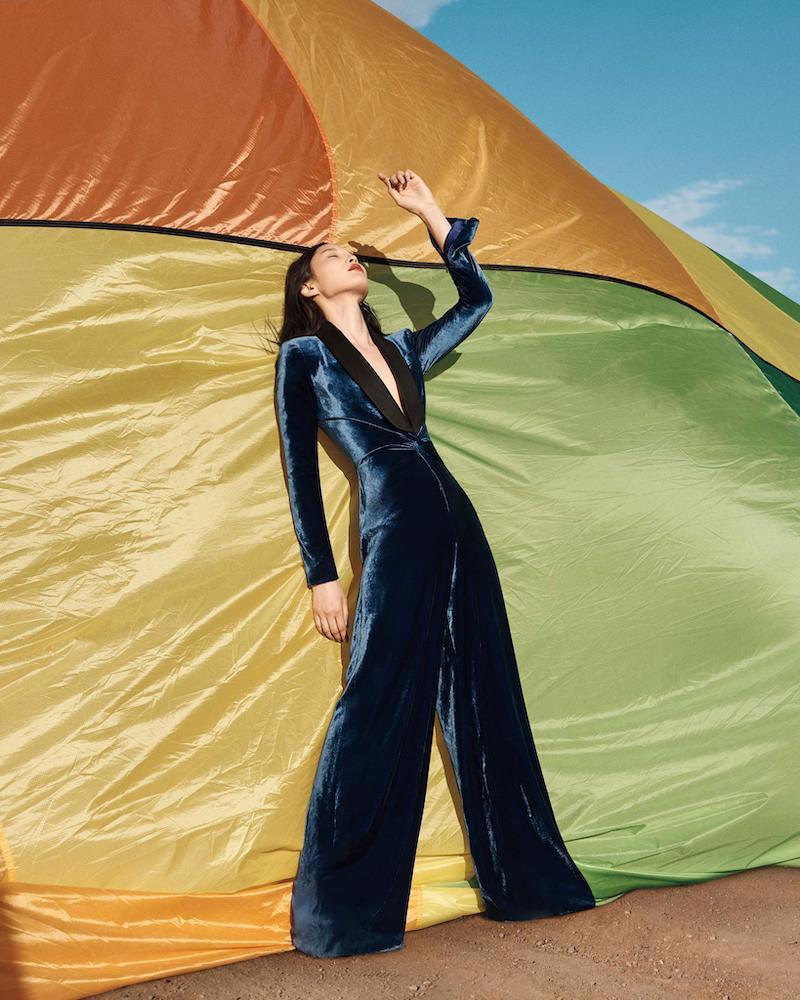 Ralph Lauren Collection Crushed Velvet Jumpsuit With Satin Tuxedo Lapel