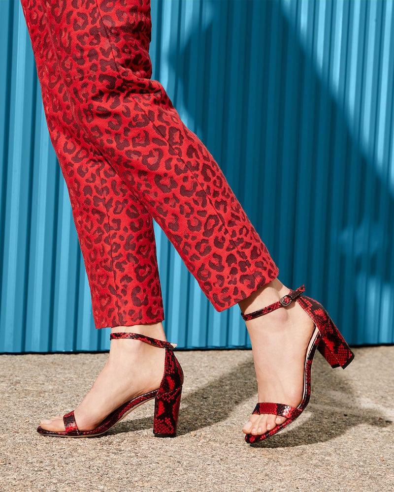 Stuart Weitzman NearlyNude Snake-Print Sandals