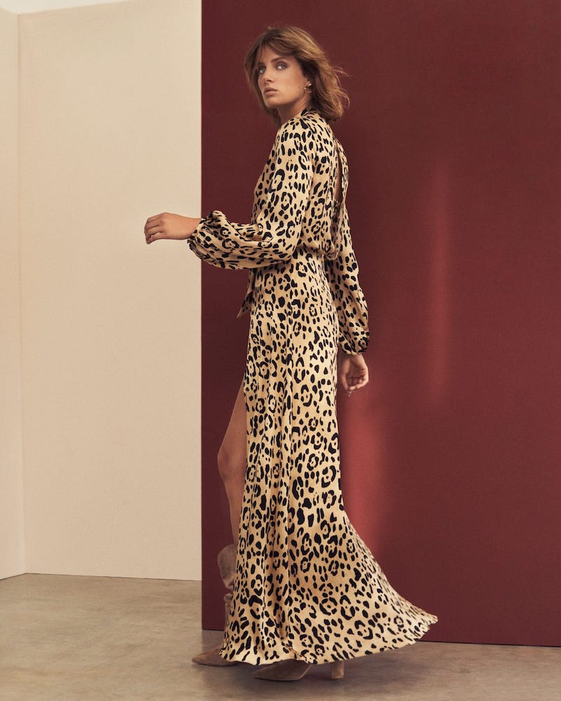 Temperley London Piera V-Neck Leopard-Print Gown