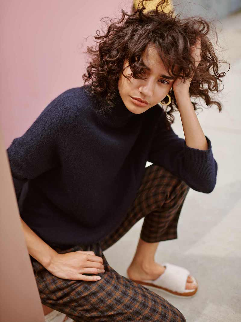 Vince Stepped Hem Wool Turtleneck