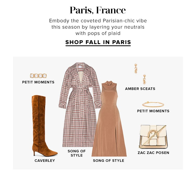 Paris, France. Embody the coveted Parisian-chic vibe this season by layering your neutrals with pops of plaid. SHOP FALL IN PARIS