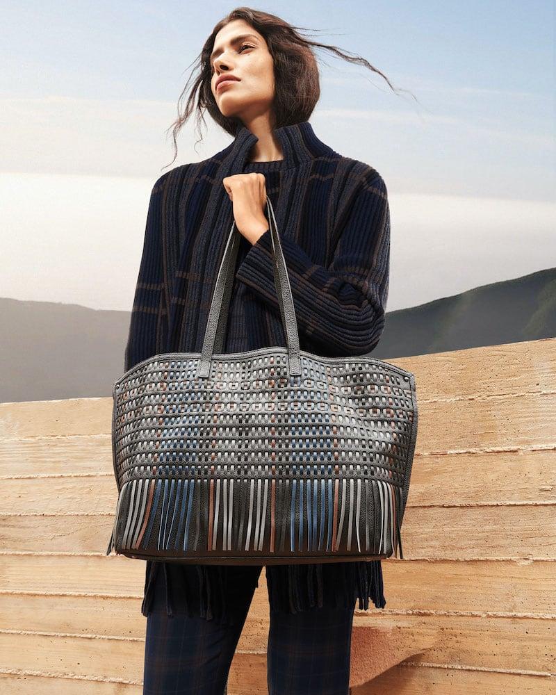 Akris AI Medium Soft Shoulder Bag With Laser-Cut Fringe