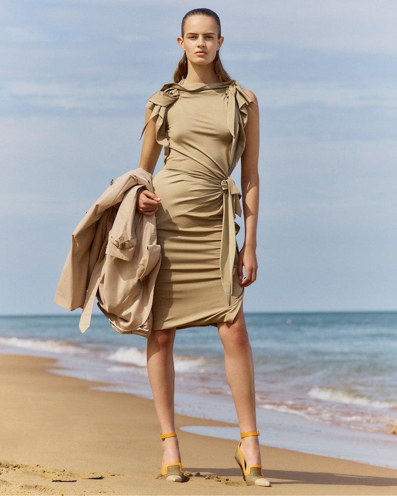 Burberry Draped Knotted Stretch-Silk Dress