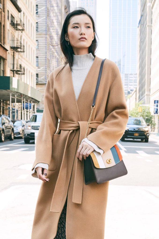 COACH Parker Colorblock Stripe Leather Shoulder Bag