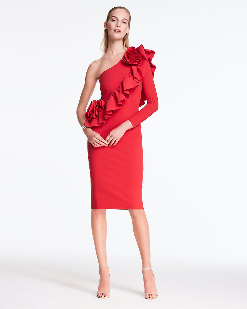 Chiara Boni La Petite Robe Asymmetric One-Shoulder Knee-Length Ruffle Cocktail Dress