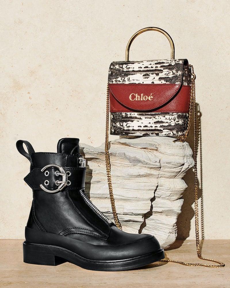 Chloé Aby Lock Lizard-Embossed Shoulder Bag with Metal Top Handle