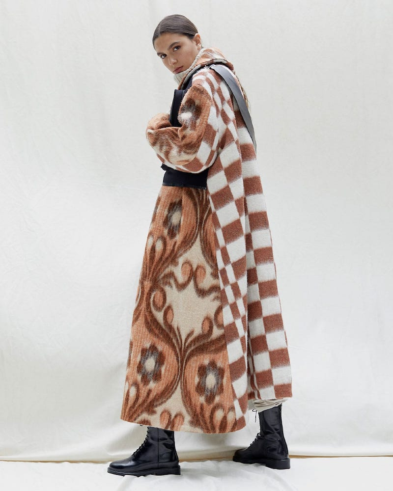 Chopova Lowena Leather-Strap Wool-Blend Coat