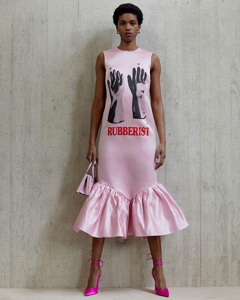Christopher Kane Rubberist-Print Ruffled-Hem Sleeveless Midi Dress