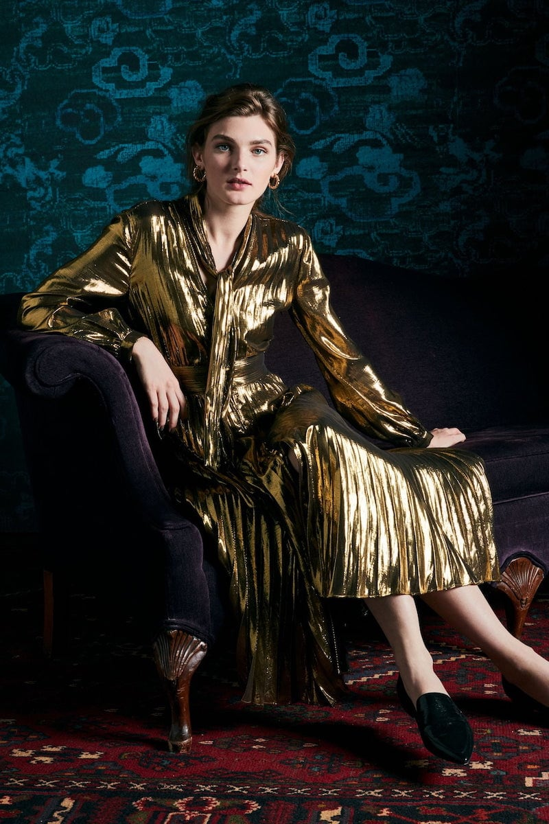 Equipment Macin Silk & Metallic Long Sleeve Dress