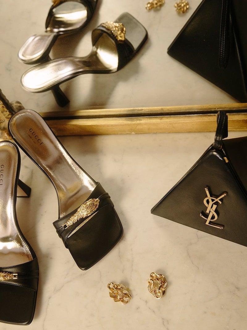 Gucci Dora Crystal Tiger-Embellished Leather Mules