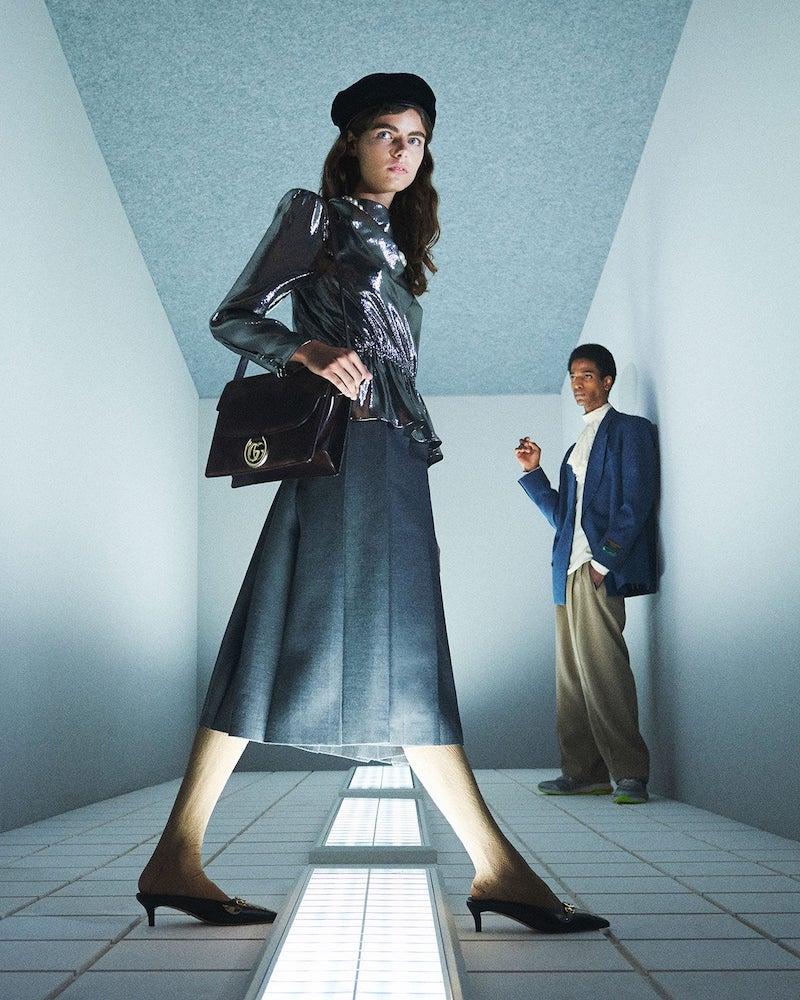 Gucci Pleated-Wool Midi Skirt