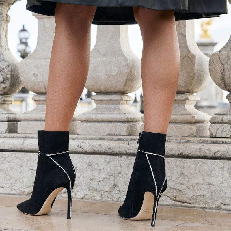 JIMMY CHOO x NET-A-PORTER Leille 100 Crystal-Embellished Suede Ankle Boots