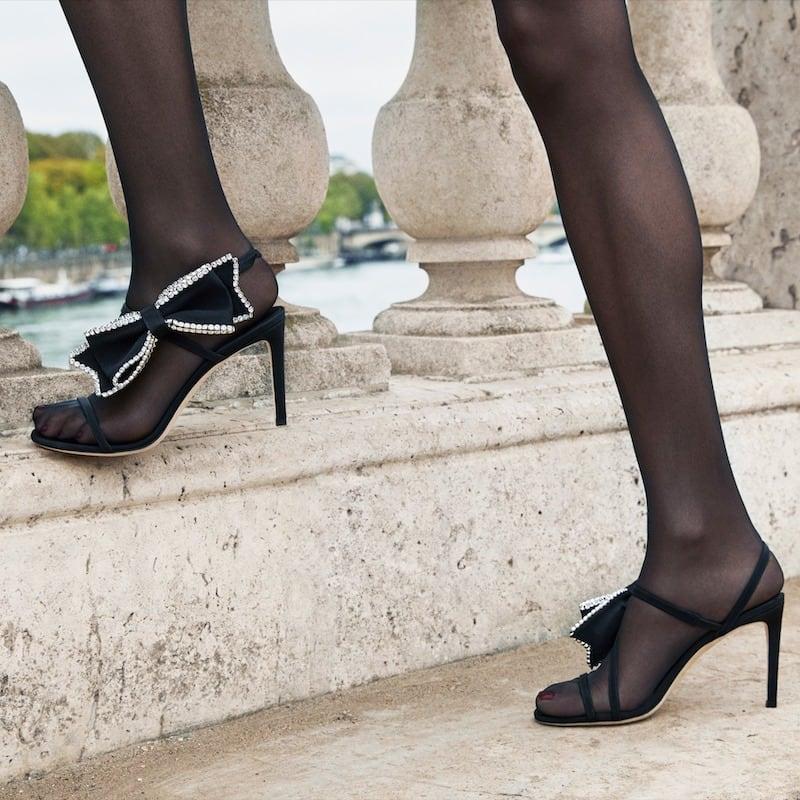 JIMMY CHOO x NET-A-PORTER Sarara 85 Crystal-Embellished Grosgrain and Suede Sandals