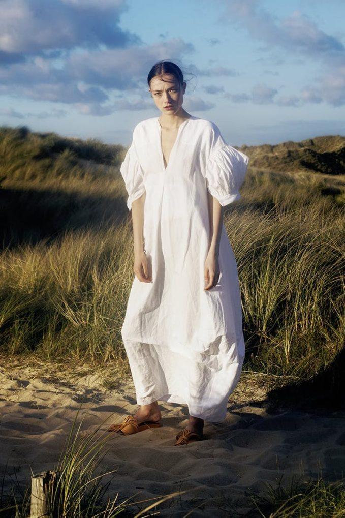 Jil Sander Exclusive to Mytheresa – Cotton, Linen and Silk Puff sleeve Maxi Dress