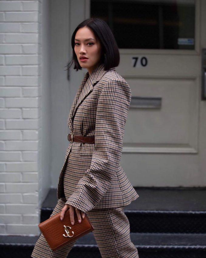 KHAITE Kendall Checked Wool Blend Blazer