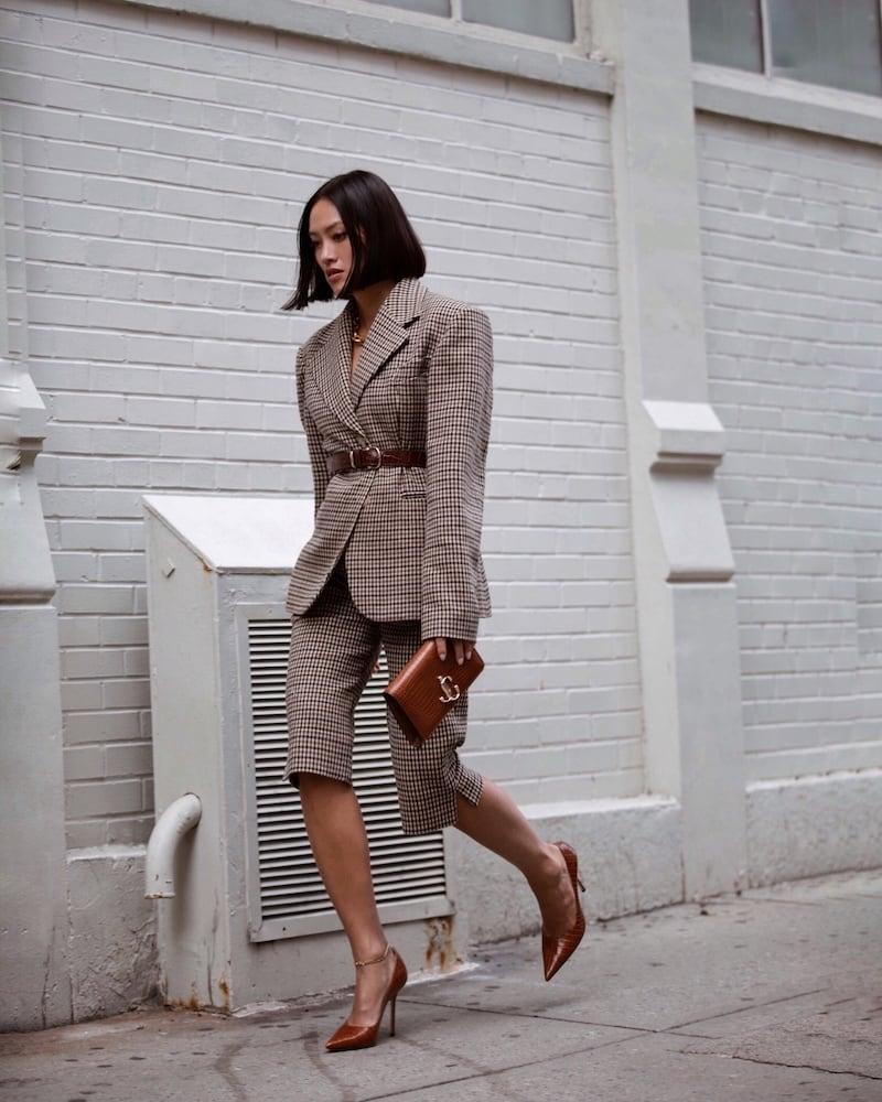 KHAITE Ruby Checked Wool Blend Shorts
