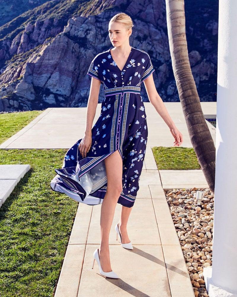 Lela Rose Floral-Print V-Neck Tea-Length Dress