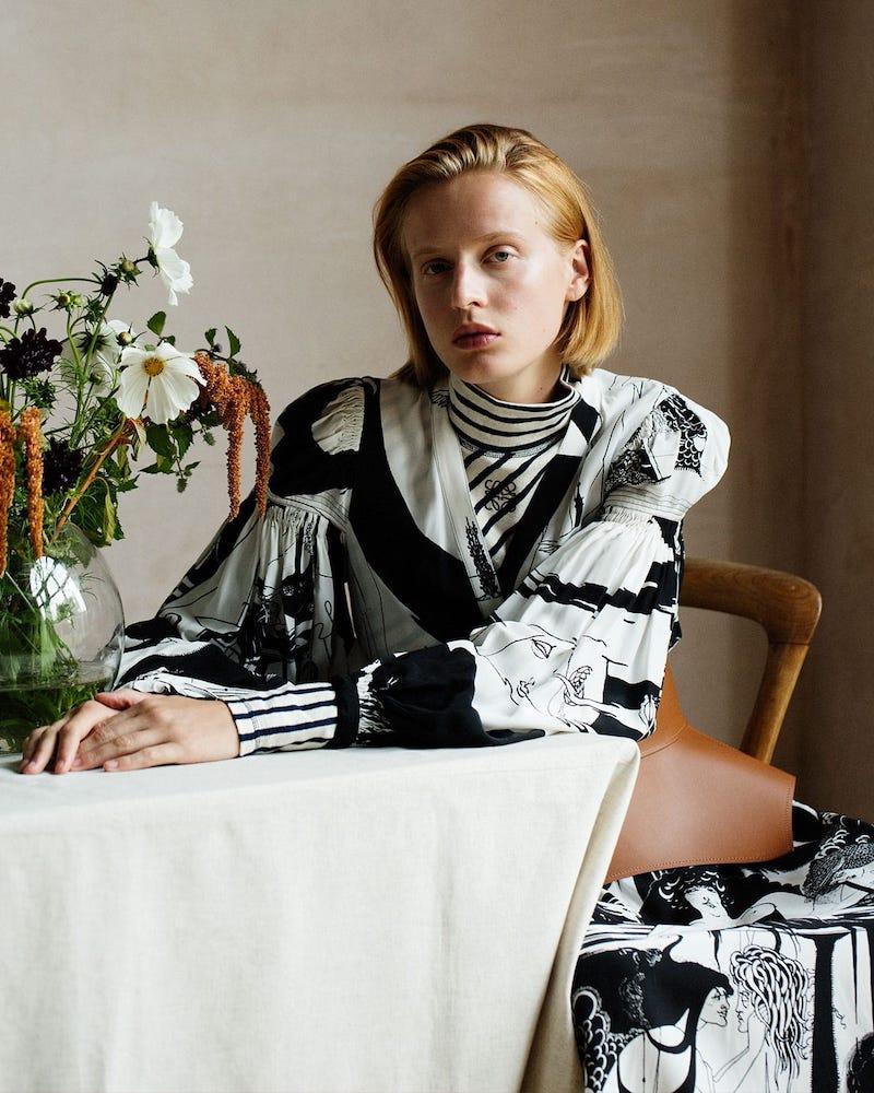 Loewe Aubrey Beardsley-Print Crepe Shirtdress