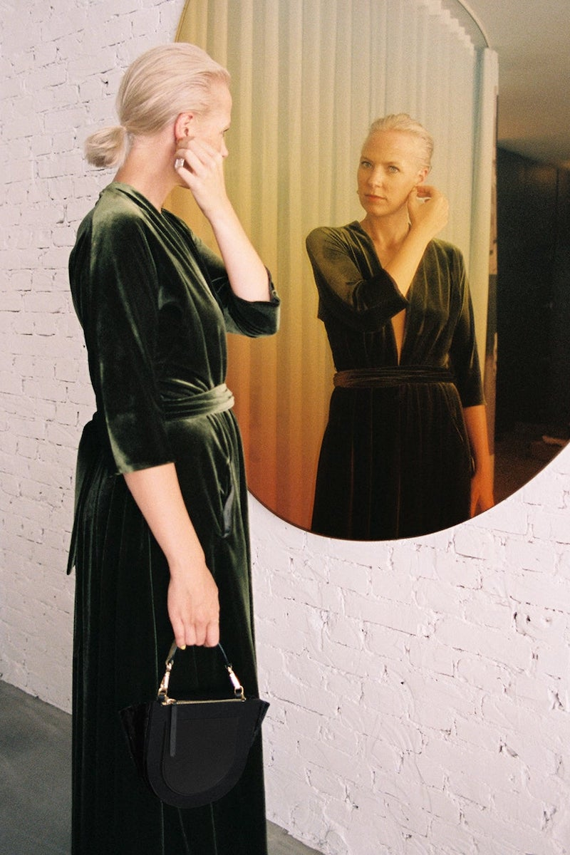 Luisa Beccaria Plunge-Neck Tie-Waist Velvet Midi Dress