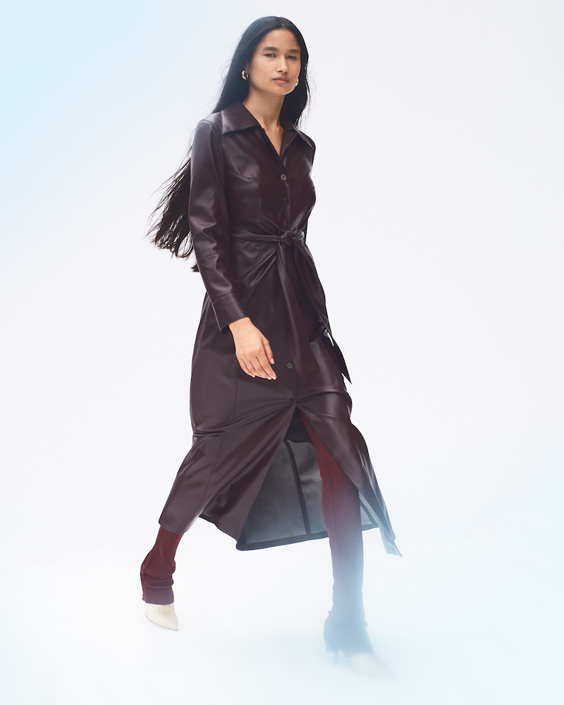 Nanushka Tarot Vegan-Leather Tie-Front Shirtdress