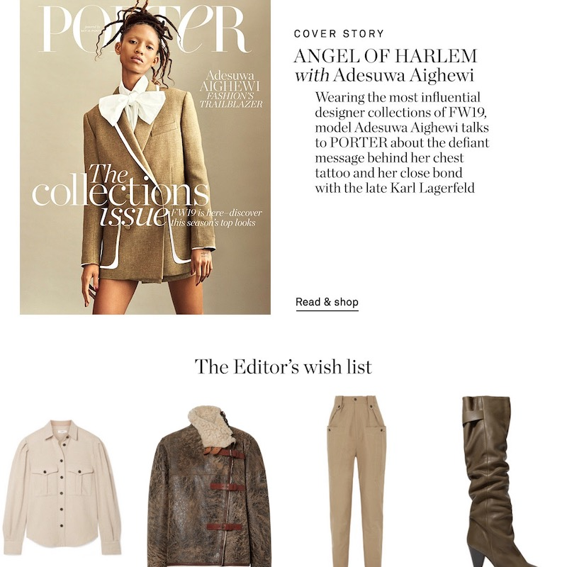NET-A-PORTER PORTER EDIT :: Top Stories of The Week, October 12, 2019