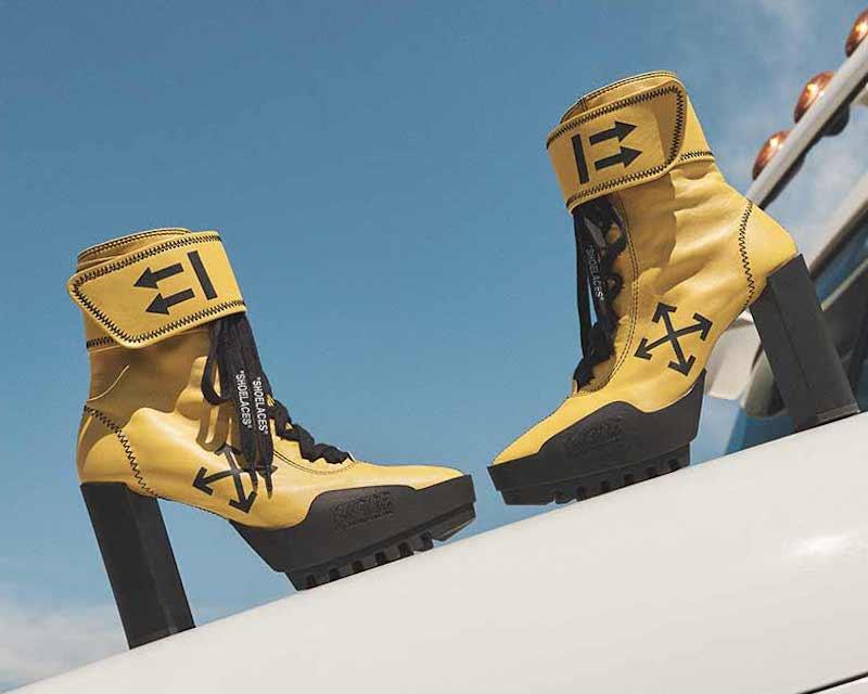 Off-White Arrow Heeled Moto Wrap Boots